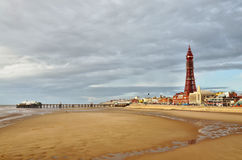 Blackpool Tower and pier, viewed across the sands. Royalty Free Stock Image