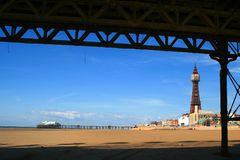 Blackpool Tower from under Central Pier Royalty Free Stock Images
