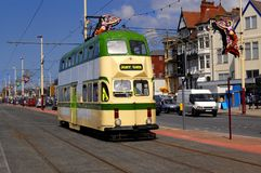 Blackpool Tram. A restored tram on the Blackpool sea front. Whilst some UK cities are reinstating their tram systems, Blackpool is the only place to have Stock Images