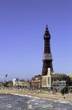 Blackpool-Turm, der majestätisch über benachbarte Gebäude hochragt Lizenzfreie Stockfotografie