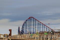 Rollercoaster at Blackpool. BLACKPOOL, UNITED KINGDOM - October 21, 2016: the Big One rollercoaster at Blackpool Pleasure Beach Royalty Free Stock Image