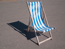 Blackpool vintage wooden deck chair blue and white Royalty Free Stock Images