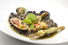 Blacks chickpea soup with seafood Royalty Free Stock Photography