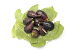 Blacks ripe figs with leaves. Plate of ripe figs blacks with green leaves Royalty Free Stock Photography