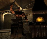 The Blacksmith. A massively muscled smith works a sword blade by the light of the glowing forge Stock Photography