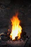 Blacksmith. Bright fire in traditional blacksmith Stock Photography