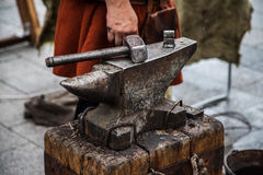 Blacksmith anvil. With a Hammer Royalty Free Stock Photo