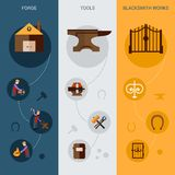 Blacksmith Banner Set. Blacksmith work vertical banner set with forging tools flat elements isolated vector illustration Royalty Free Stock Image