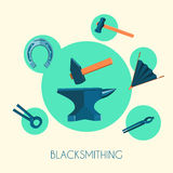 Blacksmith basic symbols emblems poster Royalty Free Stock Image