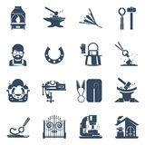 Blacksmith Black Icons Set. With tin snips hammer anvil iron gates welding machine isolated  illustration Royalty Free Stock Image