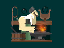 Blacksmith character cartoon Royalty Free Stock Photography