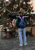 Blacksmith on Christmas market on Old Town Square in Prague Stock Photo