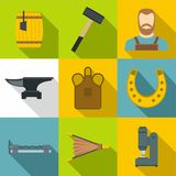 Blacksmith equipment icons set, flat style. Blacksmith equipment icons set. Flat set of 9 blacksmith equipment vector icons for web with long shadow Royalty Free Stock Image