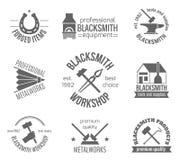 Blacksmith etykietki set Obrazy Royalty Free