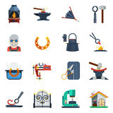 Blacksmith Flat Color Icons Set. With hammer  anvil tongs clamp horseshoe  vector illustration Royalty Free Stock Image