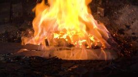 Blacksmith furnace with burning coals. stock photo