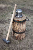 Blacksmith hammer and coinage tool Royalty Free Stock Image