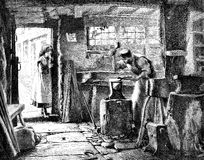 Blacksmith in his workshop. An engraved vintage illustration engraving of a blacksmith in his workshop, being watched by his daughter from a Victorian newspaper Royalty Free Stock Photo