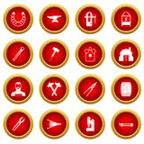 Blacksmith icon red circle set. Isolated on white background Stock Photography