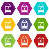 Blacksmith icon set color hexahedron. Blacksmith oven with flame fire icon set many color hexahedron isolated on white vector illustration Stock Images
