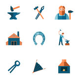 Blacksmith icon set. Decorative blacksmith shop anvil steel tongs tools and horseshoe pictograms icons collection flat isolated vector illustration Stock Photography