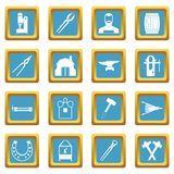 Blacksmith icons azure. Blacksmith icons set in azur color isolated vector illustration for web and any design Stock Photos