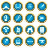 Blacksmith icons blue circle set. Isolated on white for digital marketing Stock Images