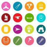 Blacksmith icons many colors set. Isolated on white for digital marketing Stock Images