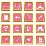 Blacksmith icons pink. Blacksmith icons set in pink color isolated vector illustration for web and any design Stock Photo