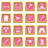 Blacksmith icons pink Stock Photo