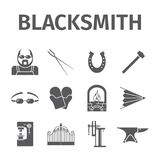 Blacksmith icons set. Vector signs for web graphics Royalty Free Stock Photo