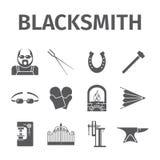 Blacksmith icons set. Royalty Free Stock Photo