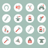 Blacksmith icons set. Dcorative blacksmith shop anvil cast iron tongs and horseshoe solid round plate pictograms collection  vector illustration Stock Images