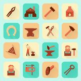 Blacksmith icons set. Decorative blacksmith shop anvil fire place molding tools and horseshoe pictograms icons collection flat  isolated vector illustration Stock Images