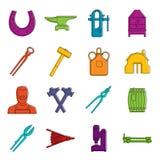 Blacksmith icons doodle set. Blacksmith icons set. Doodle illustration of vector icons isolated on white background for any web design Royalty Free Stock Photos