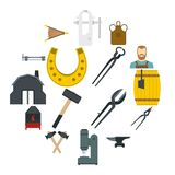 Blacksmith icons set in flat style. Isolated vector illustration Royalty Free Stock Photos
