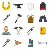 Blacksmith icons set in flat style Stock Image