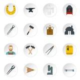 Blacksmith icons set in flat style. Isolated vector icons set illustration Stock Image