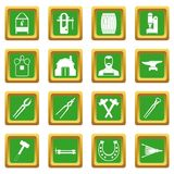 Blacksmith icons set green. Blacksmith icons set in green color isolated vector illustration for web and any design Stock Photography