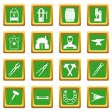 Blacksmith icons set green Stock Photography