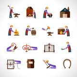 Blacksmith Icons Set Royalty Free Stock Photos