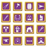 Blacksmith icons set purple. Blacksmith icons set in purple color isolated vector illustration for web and any design Stock Image