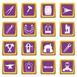 Blacksmith icons set purple Stock Image
