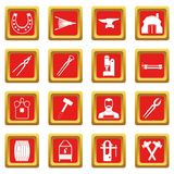 Blacksmith icons set red. Blacksmith icons set in red color isolated vector illustration for web and any design Royalty Free Stock Photo