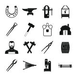 Blacksmith icons set, simple style. Blacksmith icons set. Simple illustration of 16 blacksmith vector icons for web Stock Photography