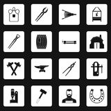 Blacksmith icons set squares vector. Blacksmith icons set in white squares on black background simple style vector illustration Stock Photos
