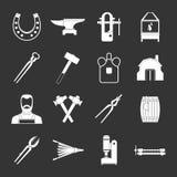 Blacksmith icons set grey vector. Blacksmith icons set vector white isolated on grey background Stock Photography