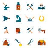 Blacksmith ikony mieszkanie Obraz Royalty Free