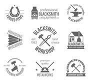 Blacksmith Label Set Royalty Free Stock Images