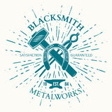 Blacksmith Label with vintage sun burst. Crossed tools. Vector Royalty Free Stock Images